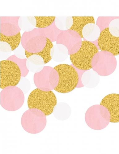 Confettis de table ronds roses et dorés pailletés 42 g