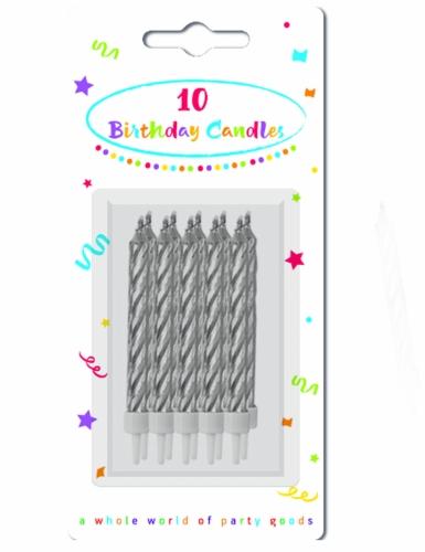 10 Bougies d'anniversaire argentées-1