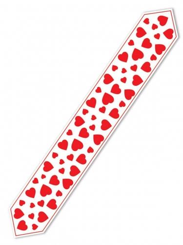 Chemin de table blanc cœurs rouges 28 cm x 1,82 m-1