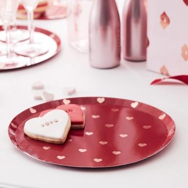 8 Assiettes en carton petits cœurs rouges 25 cm-1