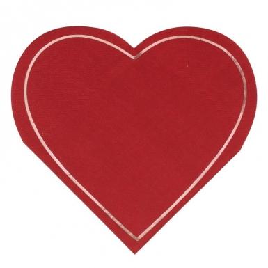 16 Serviettes en papier forme cœurs rouges 18 x 17 cm