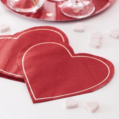 16 Serviettes en papier forme cœurs rouges 18 x 17 cm-1