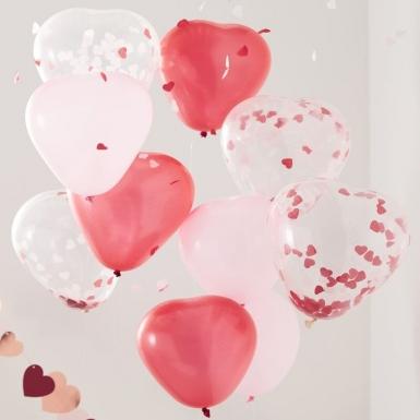 10 Ballons en latex cœurs roses, rouges et transparents confettis 30 cm-1