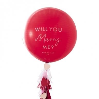 Ballon géant en latex will you marry me? rouge avec confettis 91 cm