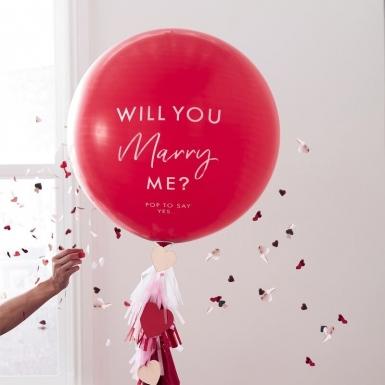 Ballon géant en latex will you marry me? rouge avec confettis 91 cm-1