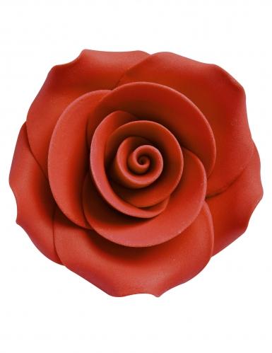 8 Petites roses décoratives en sucre rouges 2,5 cm