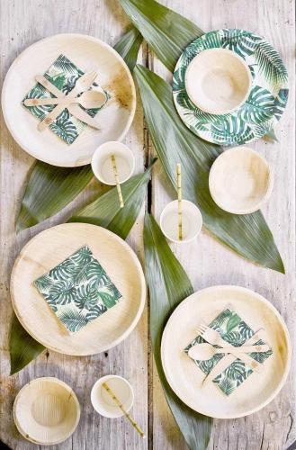 6 Assiettes biodégradables effet bambou 25 cm-1