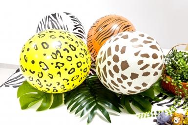 5 Ballons en latex imprimé safari 29 cm-1