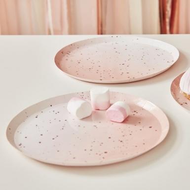 8 Assiettes en carton rose ombré et rose gold 24 cm-1