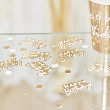 Confettis en carton Happy Birthday doré 13 g-1
