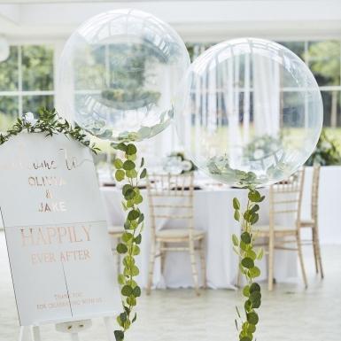 Ballon bulle transparent avec guirlande de feuilles 90 cm-1