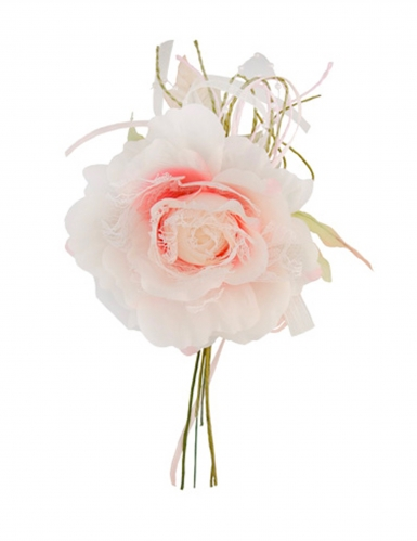 Fleur rose dentelle et perles 11 x 20 cm