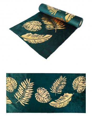 Chemin de table en velours vert feuilles dorées 28 cm x 3 m