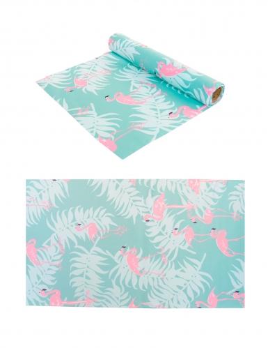 Chemin de table en tissu bleu pastel flamants roses 28 cm x 5 m
