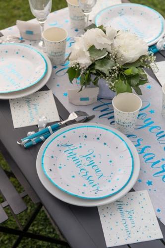 10 Gobelets carton Joyeux anniversaire turquoise 7,8 x 9,7 cm-1