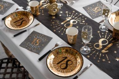 10 Serviettes papier Joyeux anniversaire 18 noir et or 33 x 33 cm-1