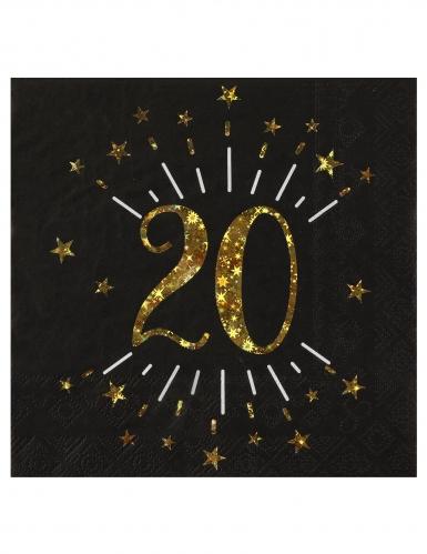 10 Serviettes papier Joyeux anniversaire 20 noir et or 18 33 x 33 cm