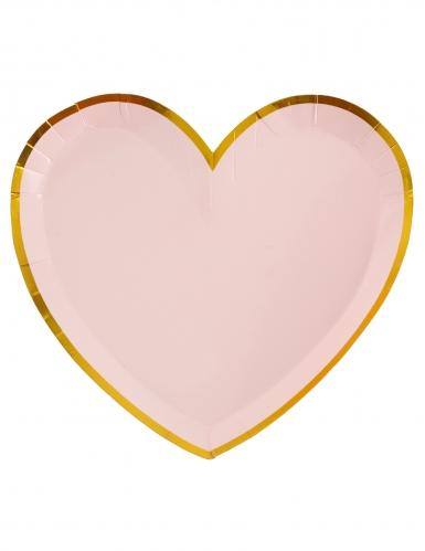 10 Assiettes carton cœur rose et or 22,5 x 20 cm
