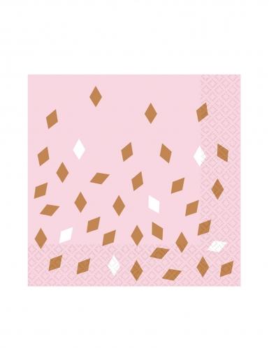 16 Serviettes en papier roses confettis rose gold 33 x 33 cm