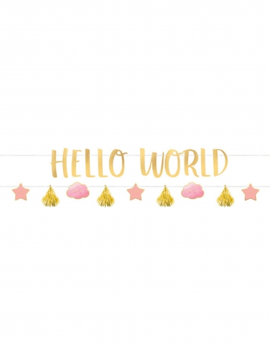 2 Guirlandes en carton Hello World rose et or 1,77 m