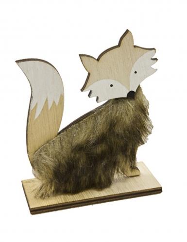 Renard en bois avec fourrure 12 x 9,6 cm