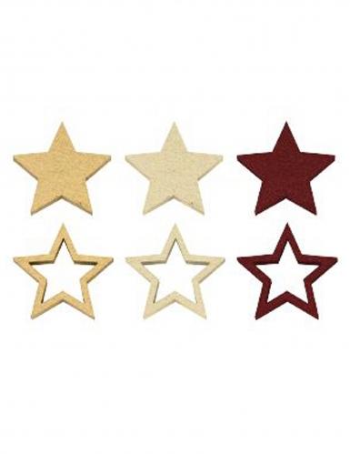 12 Confettis de table en bois étoiles dorées marsala 2,4 cm