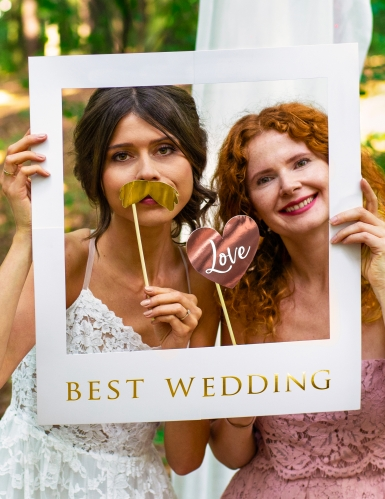 Kit photobooth complet blanc et or mariage 12 pièces-2