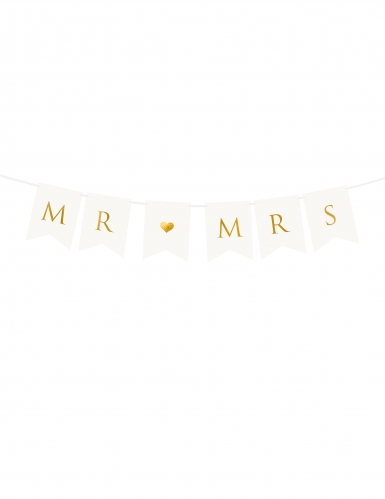 Guirlande à fanions blanc et or Mr & Mrs 85 cm