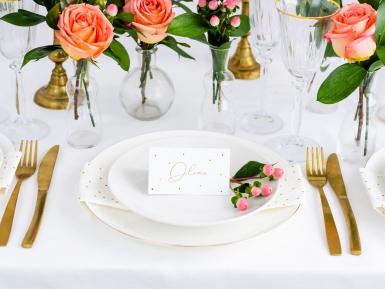 10 Marque-places en carton blanc à pois dorés 9,5 x 5,5 cm-1
