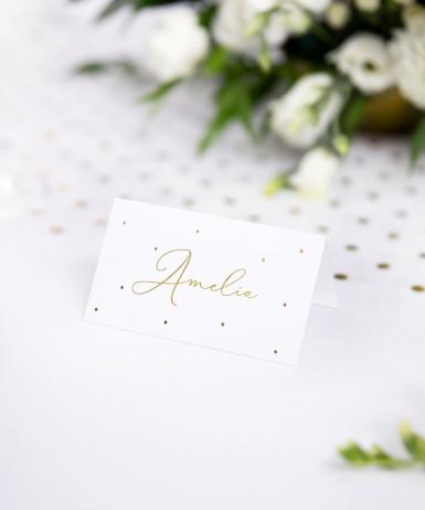 10 Marque-places en carton blanc à pois dorés 9,5 x 5,5 cm