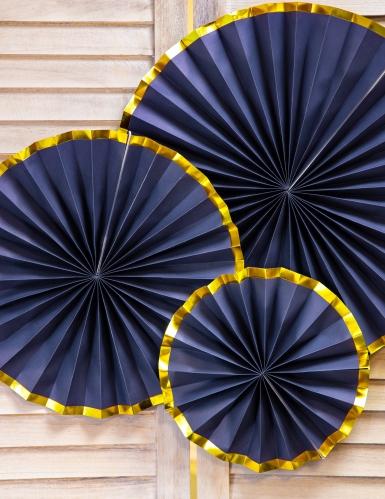 3 Rosaces en carton bleu nuit et or 23, 32 et 40 cm-1