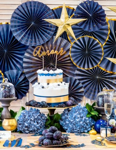 3 Rosaces en carton bleu nuit et or 23, 32 et 40 cm-2