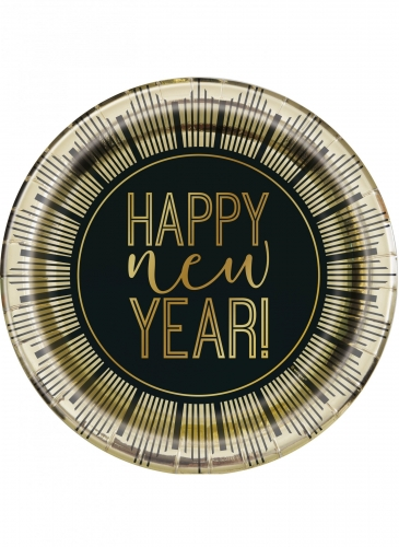 8 Assiettes en carton New Year noir et doré 23 cm