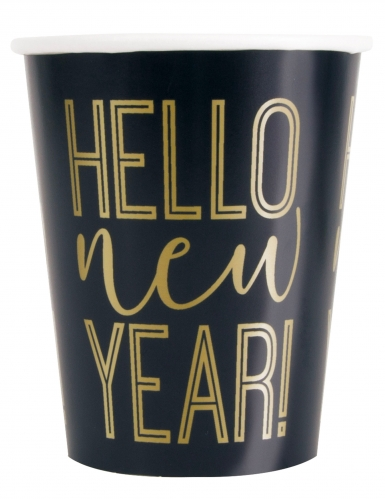 8 Gobelets en carton New Year noir et doré 266 ml