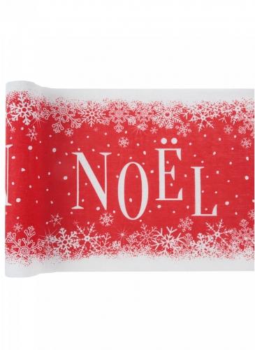 Chemin de table en coton Noël enneigé rouge 3 m x 28 cm