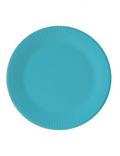 8 Assiettes en carton turquoise 23 cm