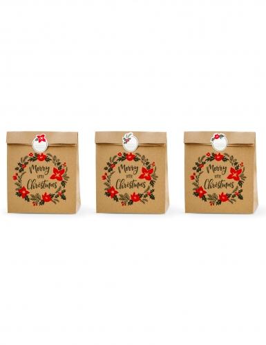 3 Sacs cadeaux en kraft avec stickers Merry Little Christmas 27 x 25 x 11 cm