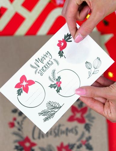 3 Sacs cadeaux en kraft avec stickers Merry Little Christmas 27 x 25 x 11 cm-1