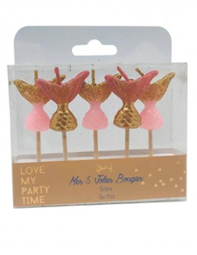 5 Bougies sur pic sirène paillettes roses et or 7 cm