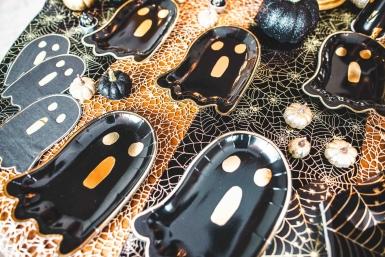 8 Assiettes en carton petit fantôme noir et or 23 x 16 cm-1
