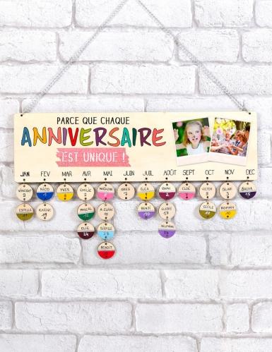 Calendrier des anniversaires en bois à personnaliser 42 x 12 cm-2