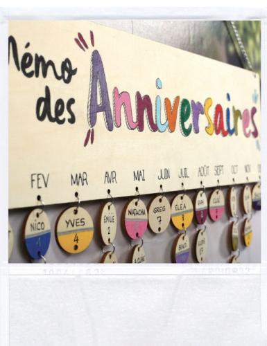 Calendrier des anniversaires en bois à personnaliser 42 x 12 cm-3
