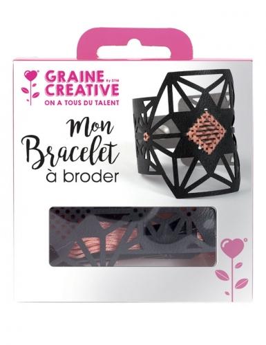 Kit bracelet à broder cuir noir motif étoile