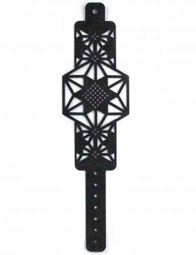Kit bracelet à broder cuir noir motif étoile-3