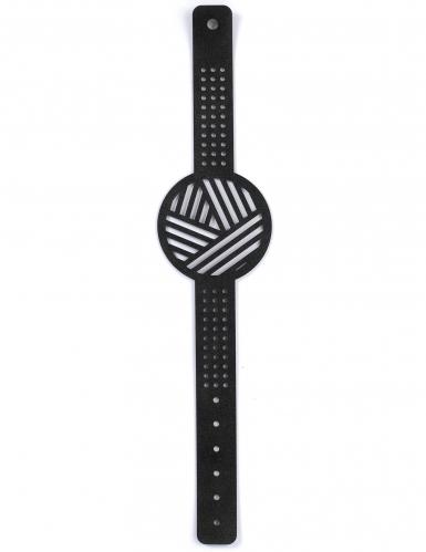 Kit bracelet à broder cuir noir motifs géométriques-2
