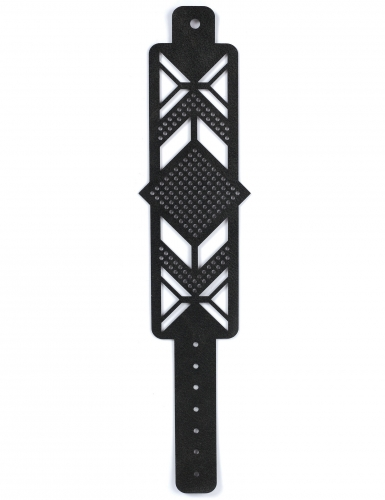 Kit bracelet à broder cuir noir motif losange-3