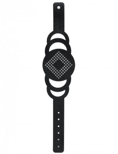 Kit bracelet à broder cuir noir motif rond-2