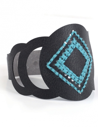 Kit bracelet à broder cuir noir motif rond-3