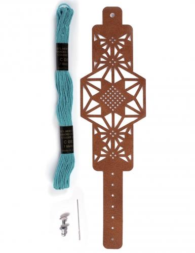 Kit bracelet à broder cuir marron motif étoile-1