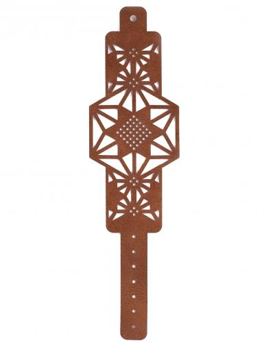 Kit bracelet à broder cuir marron motif étoile-2